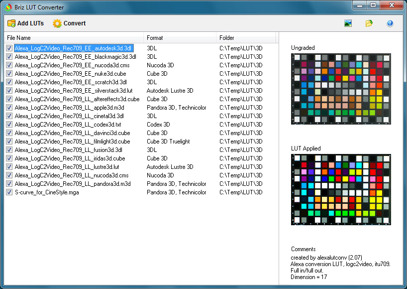 Download Briz LUT Converter 1.10 Full and Free.